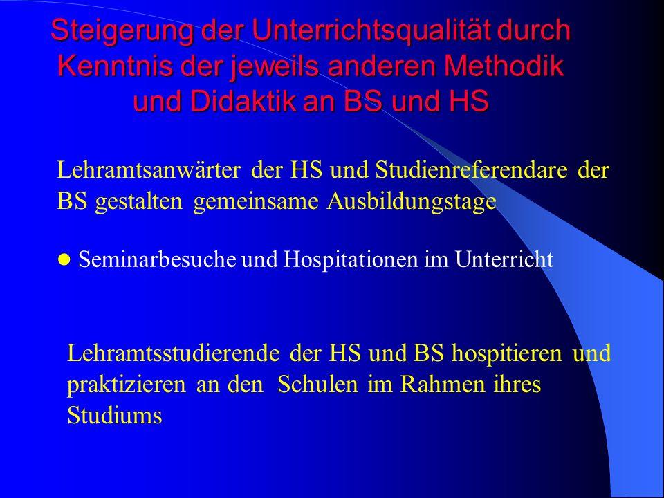 Steigerung der Unterrichtsqualität durch Kenntnis der jeweils anderen Methodik und Didaktik an BS und HS