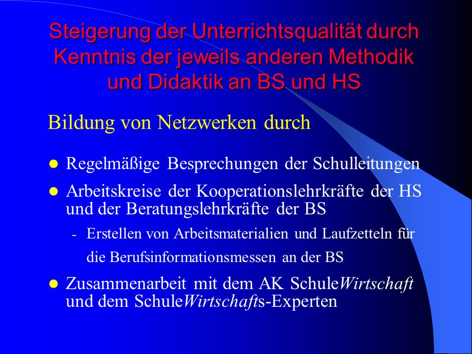 Bildung von Netzwerken durch