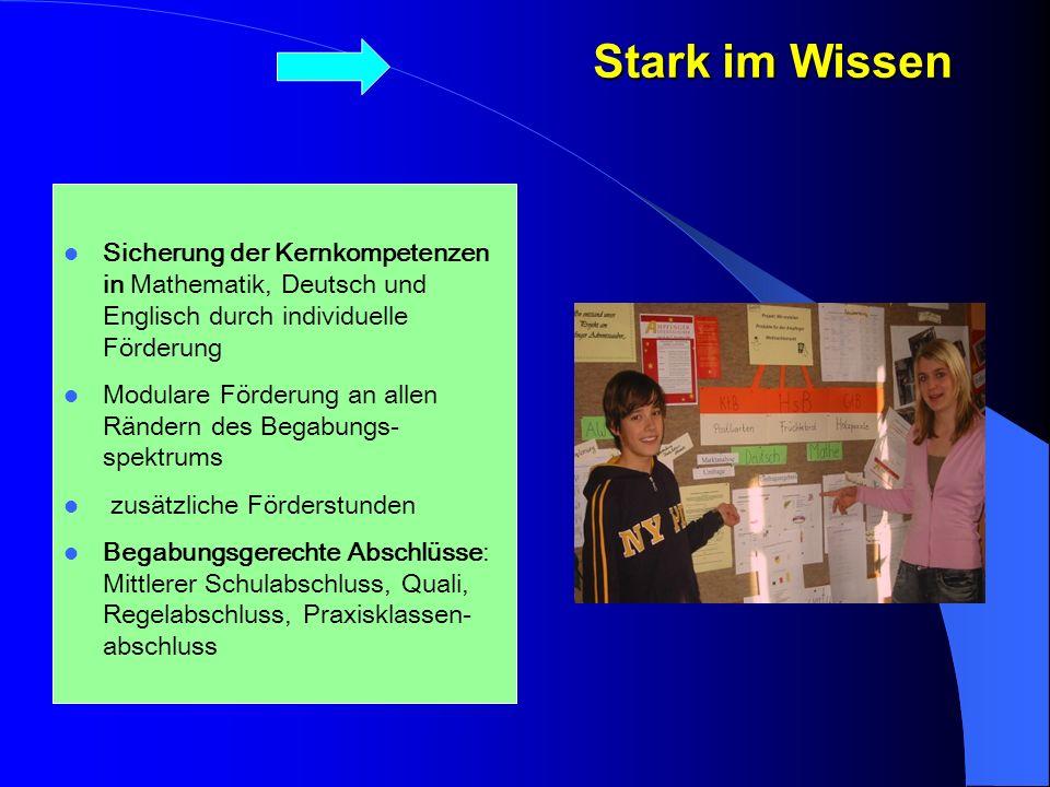 Stark im Wissen Sicherung der Kernkompetenzen in Mathematik, Deutsch und Englisch durch individuelle Förderung.