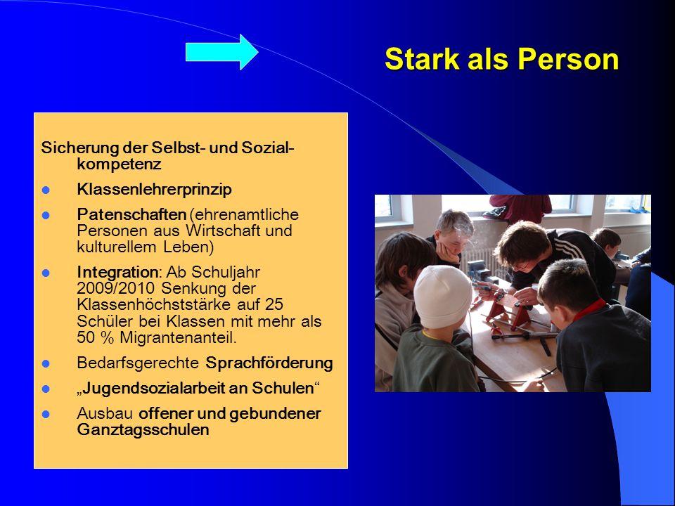Stark als Person Sicherung der Selbst- und Sozial-kompetenz. Klassenlehrerprinzip.