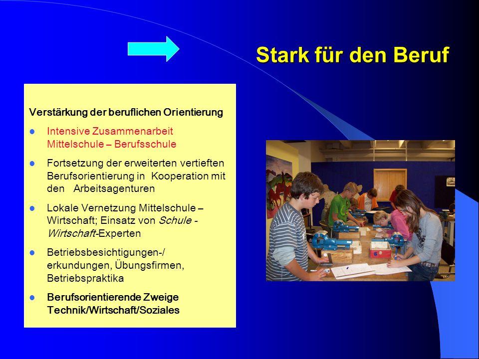Stark für den Beruf Verstärkung der beruflichen Orientierung. Intensive Zusammenarbeit Mittelschule – Berufsschule.