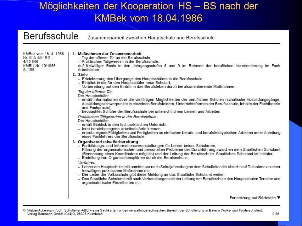 Möglichkeiten der Kooperation HS – BS nach der KMBek vom 18.04.1986