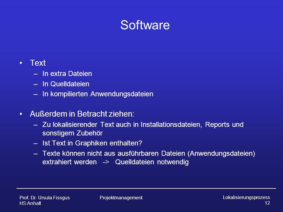 Software Text Außerdem in Betracht ziehen: In extra Dateien