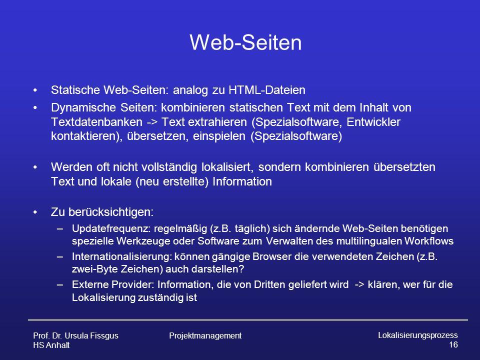 Web-Seiten Statische Web-Seiten: analog zu HTML-Dateien