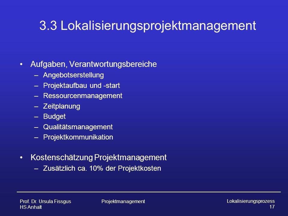 3.3 Lokalisierungsprojektmanagement
