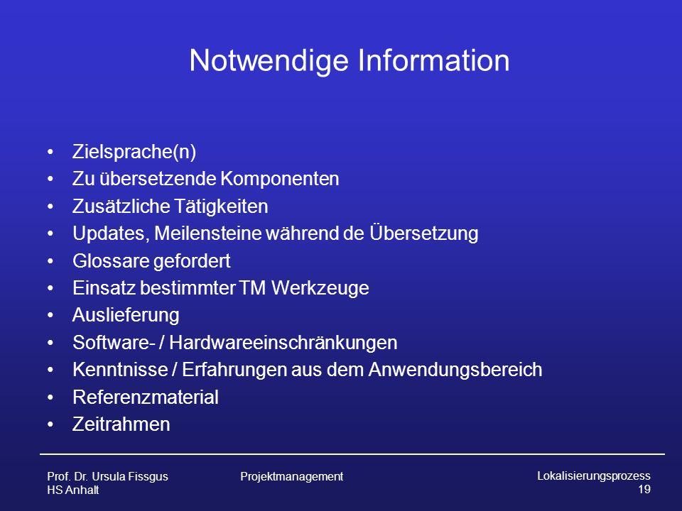 Notwendige Information