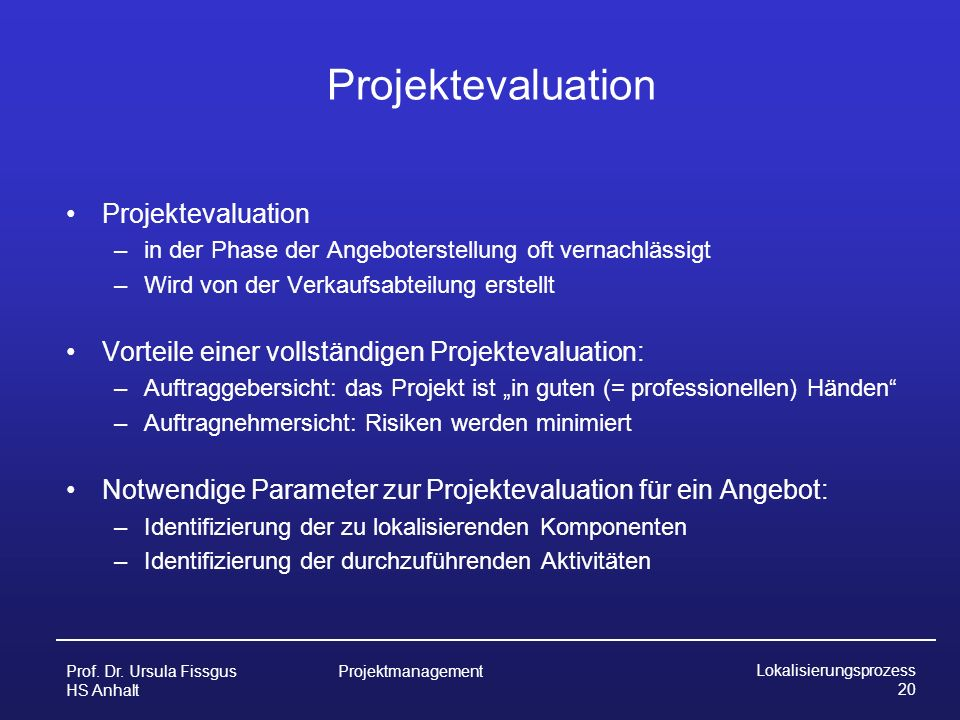 Projektevaluation Projektevaluation