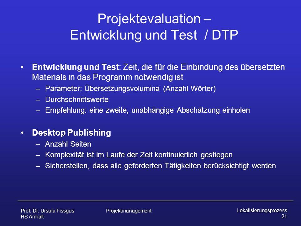 Projektevaluation – Entwicklung und Test / DTP
