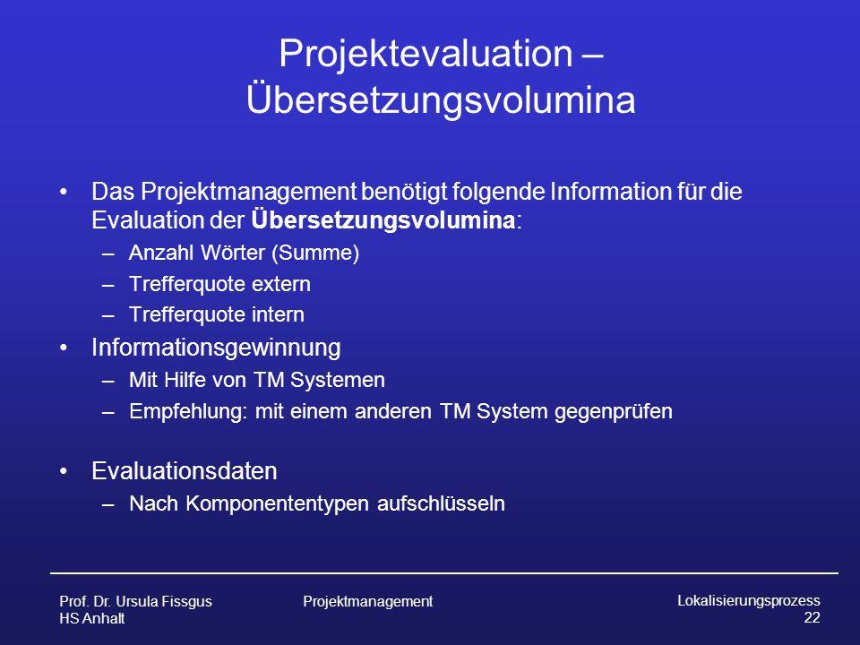 Projektevaluation – Übersetzungsvolumina