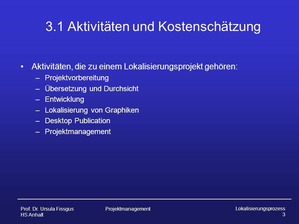 3.1 Aktivitäten und Kostenschätzung