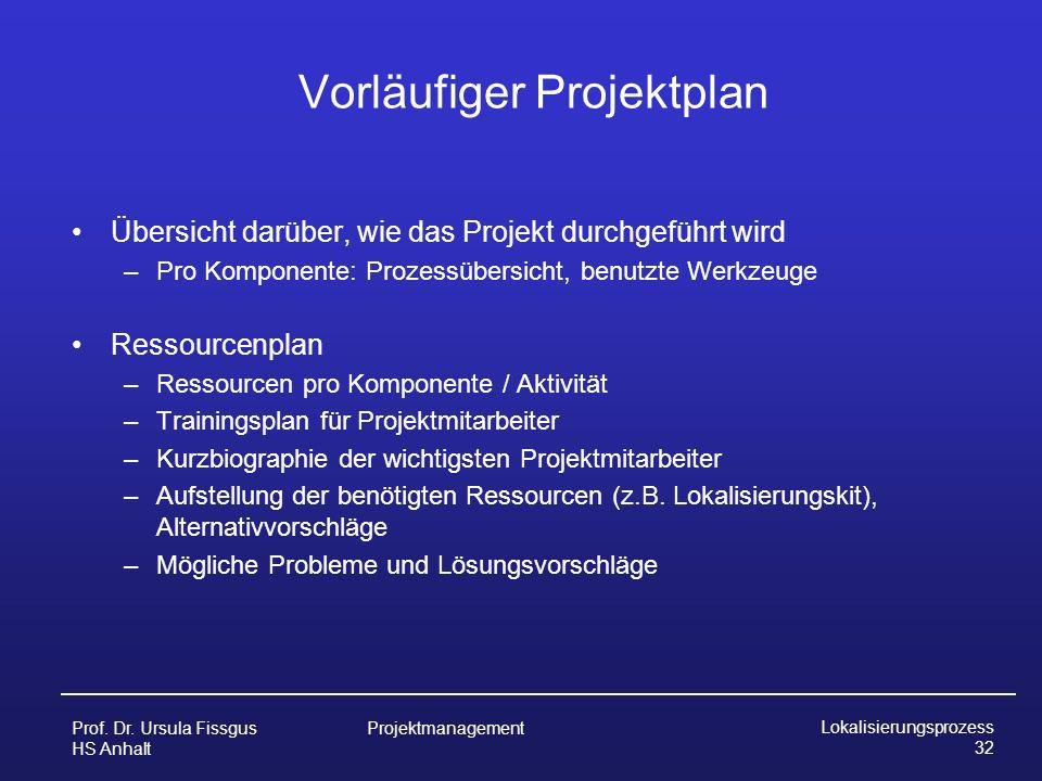 Vorläufiger Projektplan