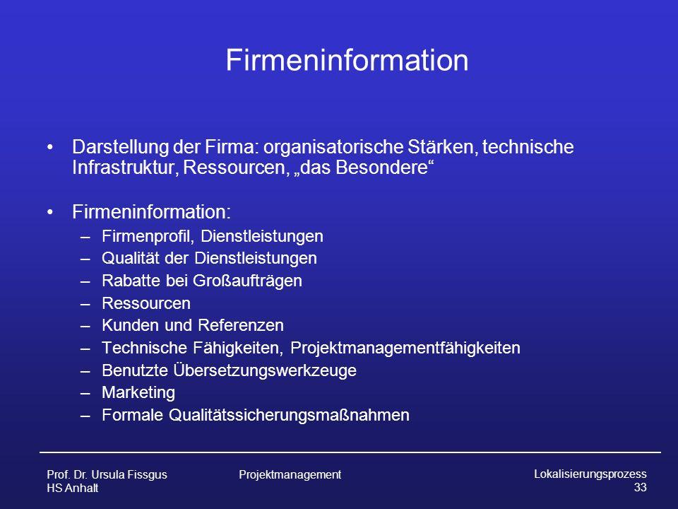 """FirmeninformationDarstellung der Firma: organisatorische Stärken, technische Infrastruktur, Ressourcen, """"das Besondere"""