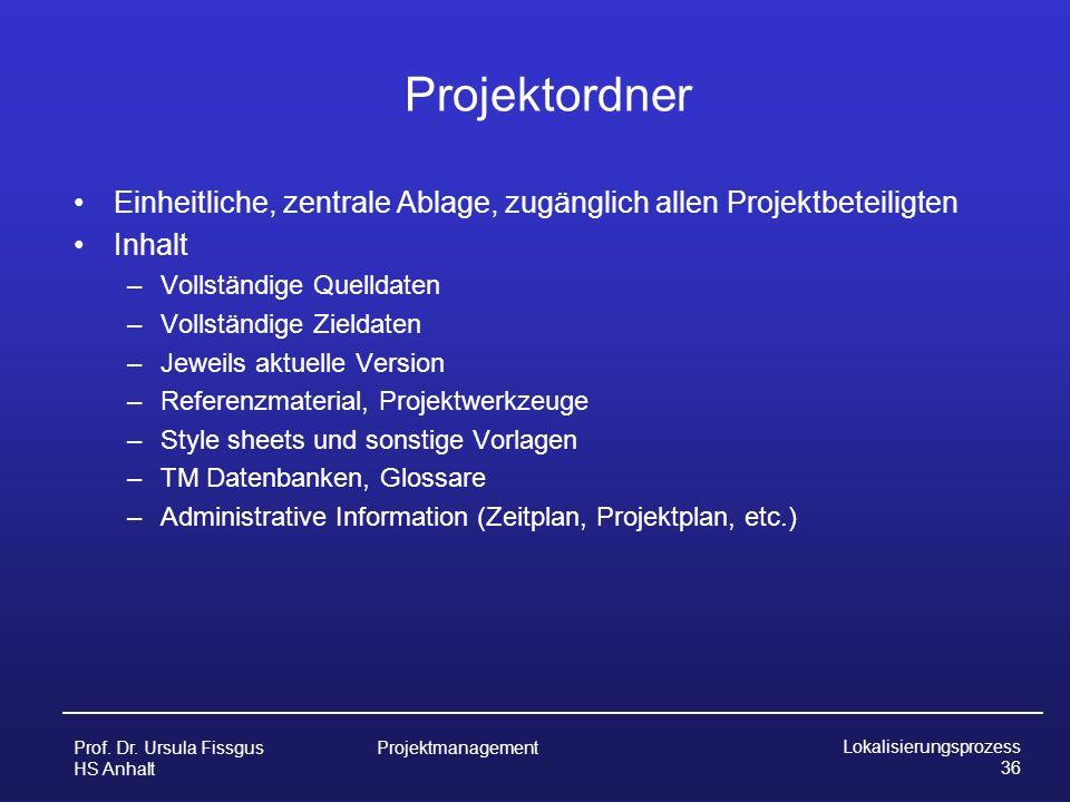 Projektordner Einheitliche, zentrale Ablage, zugänglich allen Projektbeteiligten. Inhalt. Vollständige Quelldaten.