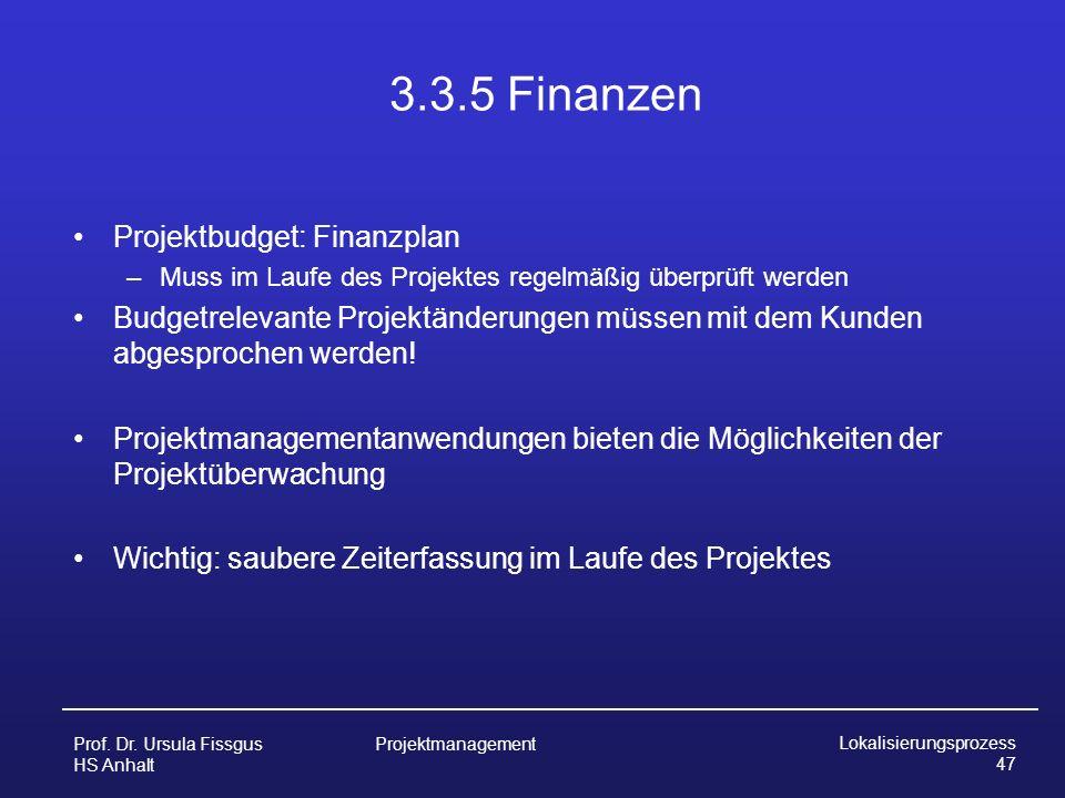 3.3.5 Finanzen Projektbudget: Finanzplan