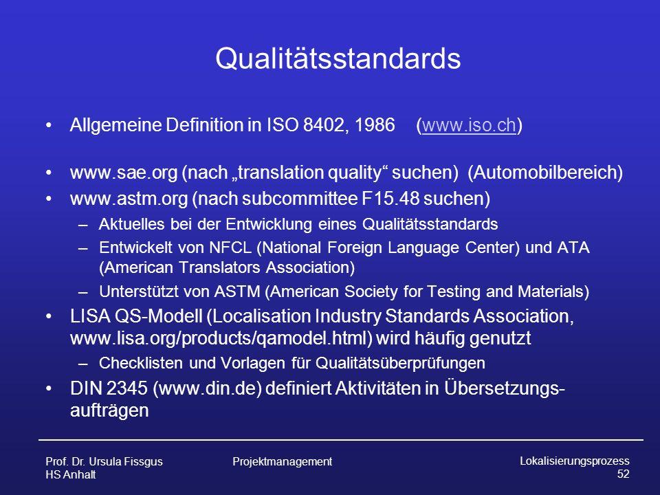 """Qualitätsstandards Allgemeine Definition in ISO 8402, 1986 (www.iso.ch) www.sae.org (nach """"translation quality suchen) (Automobilbereich)"""