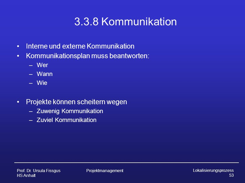 3.3.8 Kommunikation Interne und externe Kommunikation