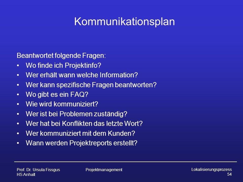 Kommunikationsplan Beantwortet folgende Fragen: