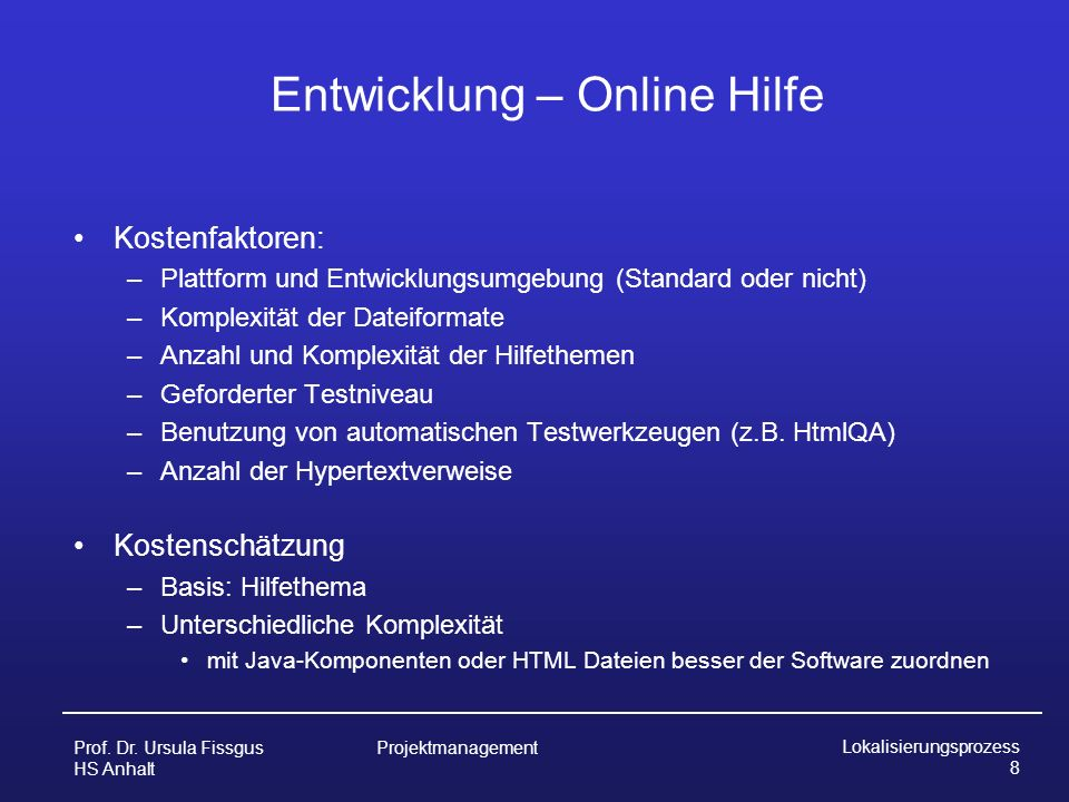 Entwicklung – Online Hilfe