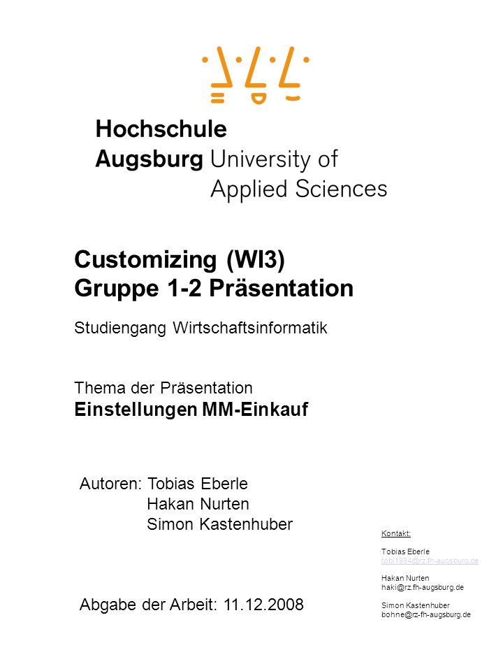 Customizing (WI3) Gruppe 1-2 Präsentation Einstellungen MM-Einkauf