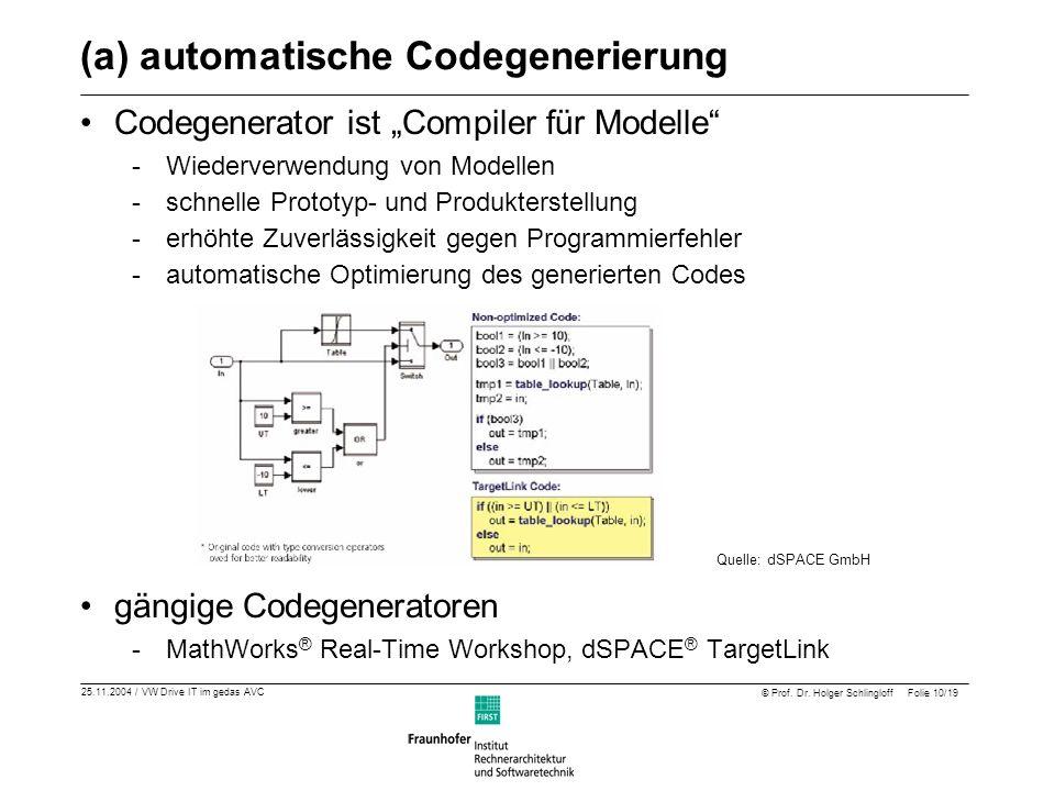 (a) automatische Codegenerierung