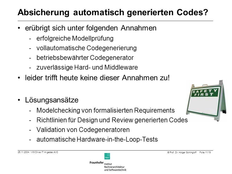 Absicherung automatisch generierten Codes