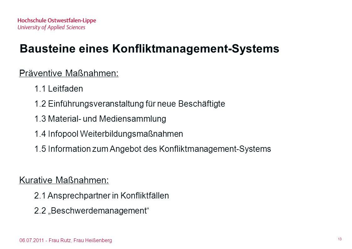Bausteine eines Konfliktmanagement-Systems