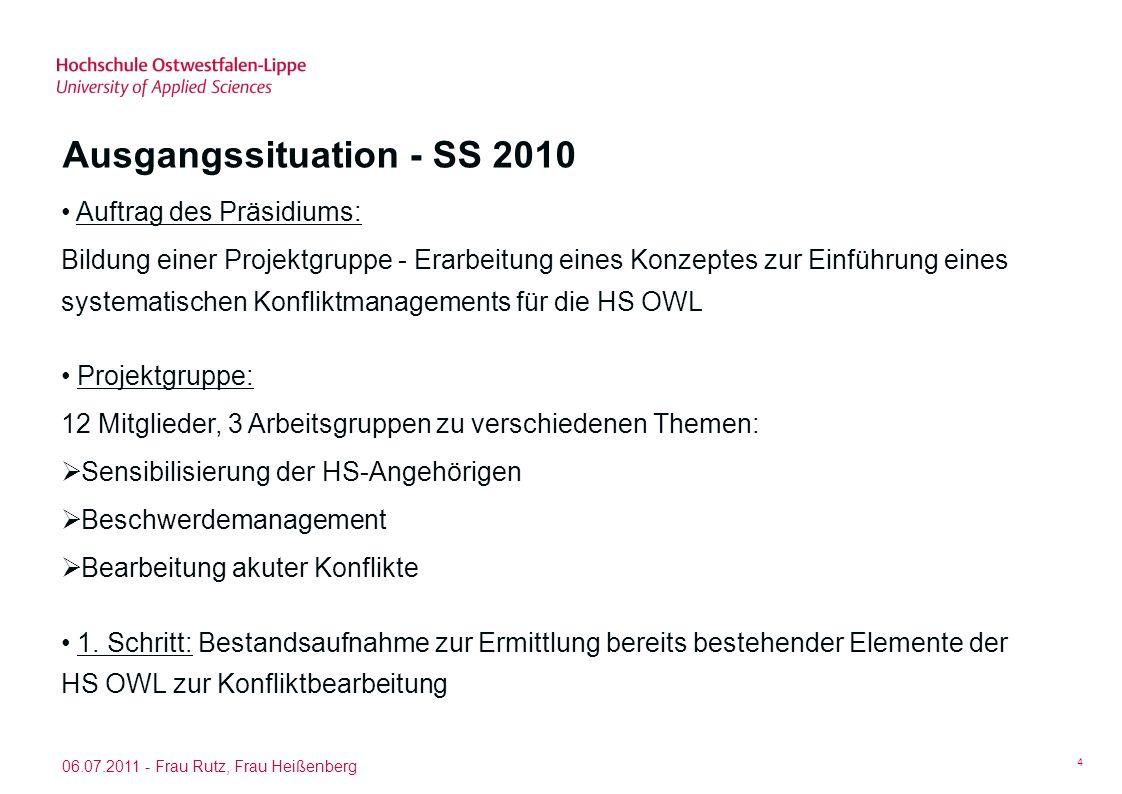 Ausgangssituation - SS 2010