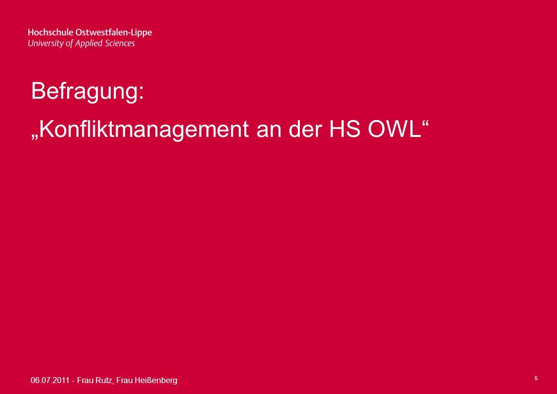 "Befragung: ""Konfliktmanagement an der HS OWL"