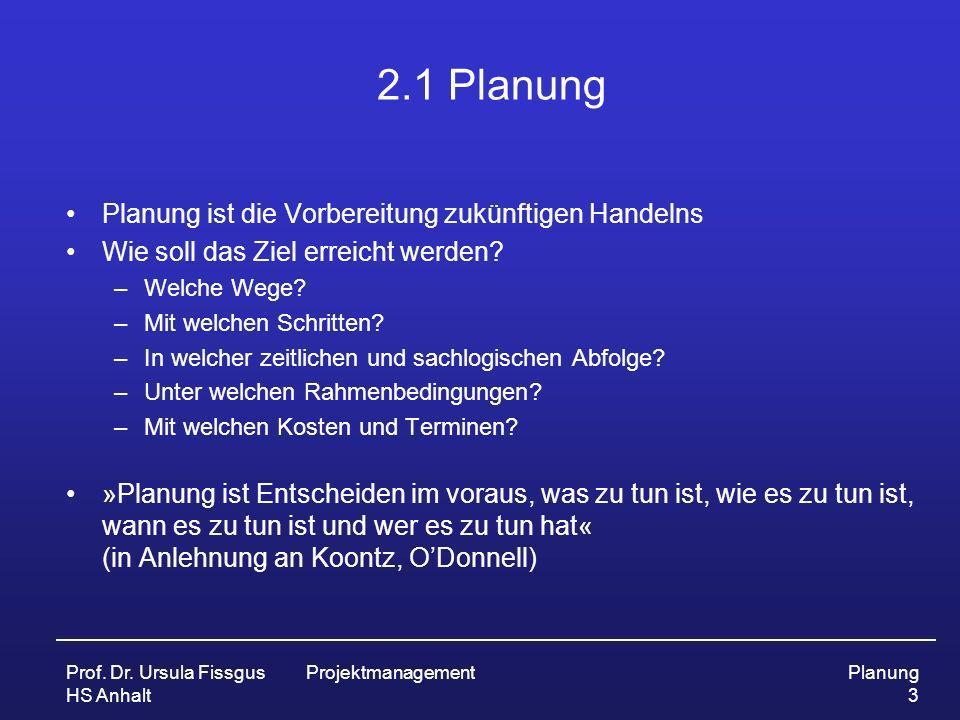 2.1 Planung Planung ist die Vorbereitung zukünftigen Handelns