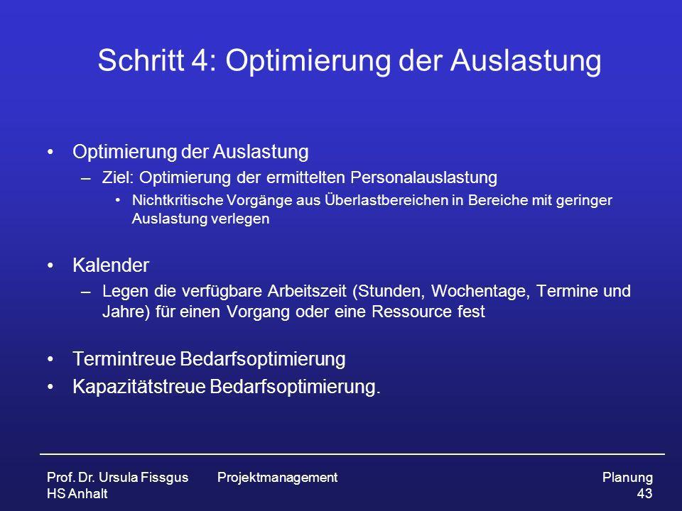 Schritt 4: Optimierung der Auslastung