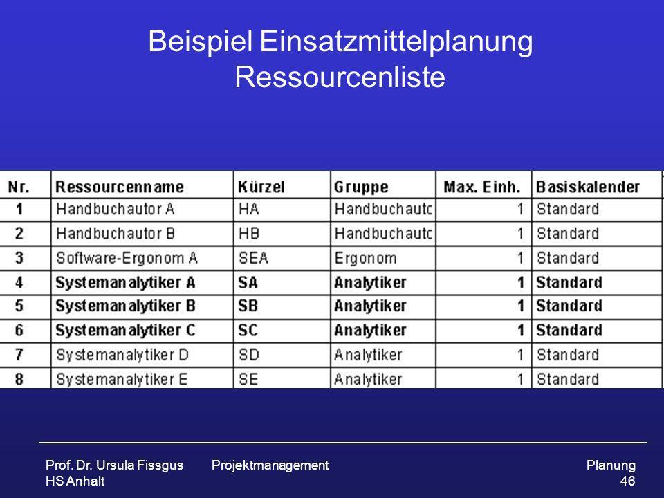 Beispiel Einsatzmittelplanung Ressourcenliste