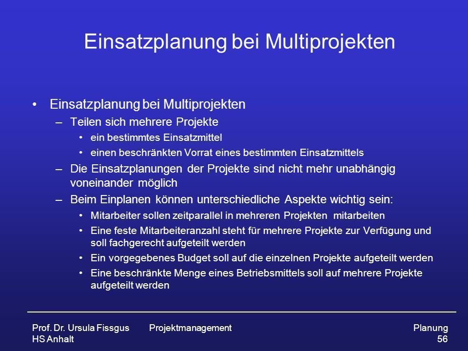 Einsatzplanung bei Multiprojekten