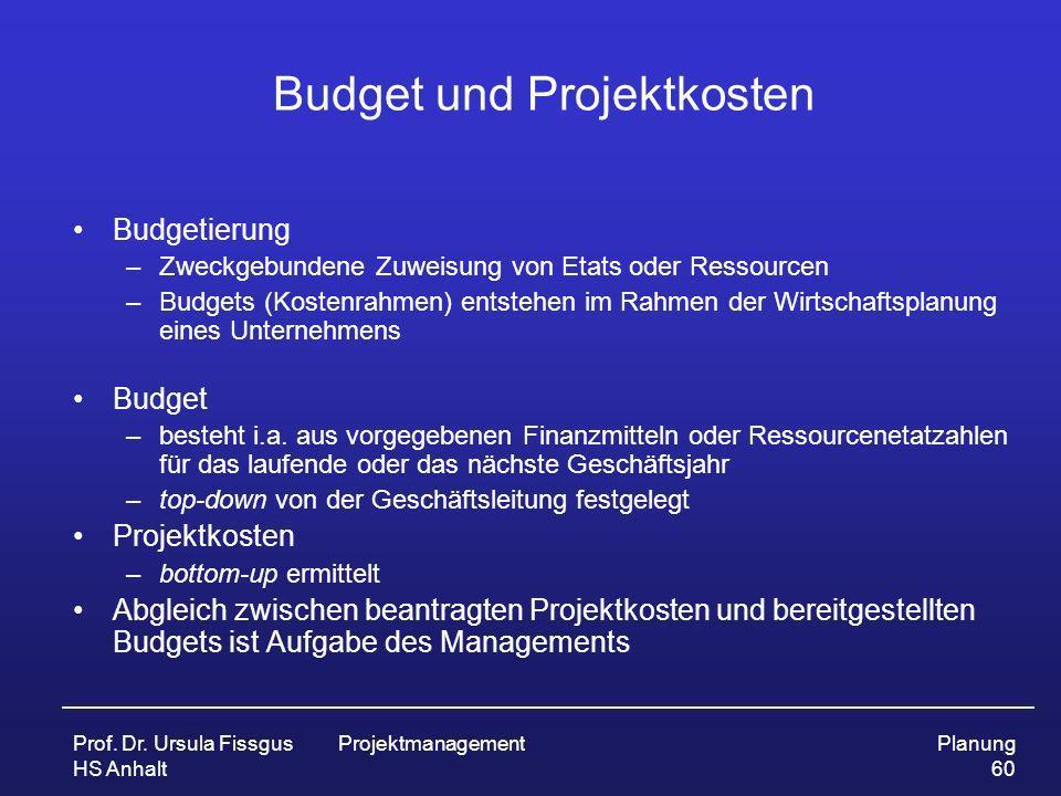 Budget und Projektkosten