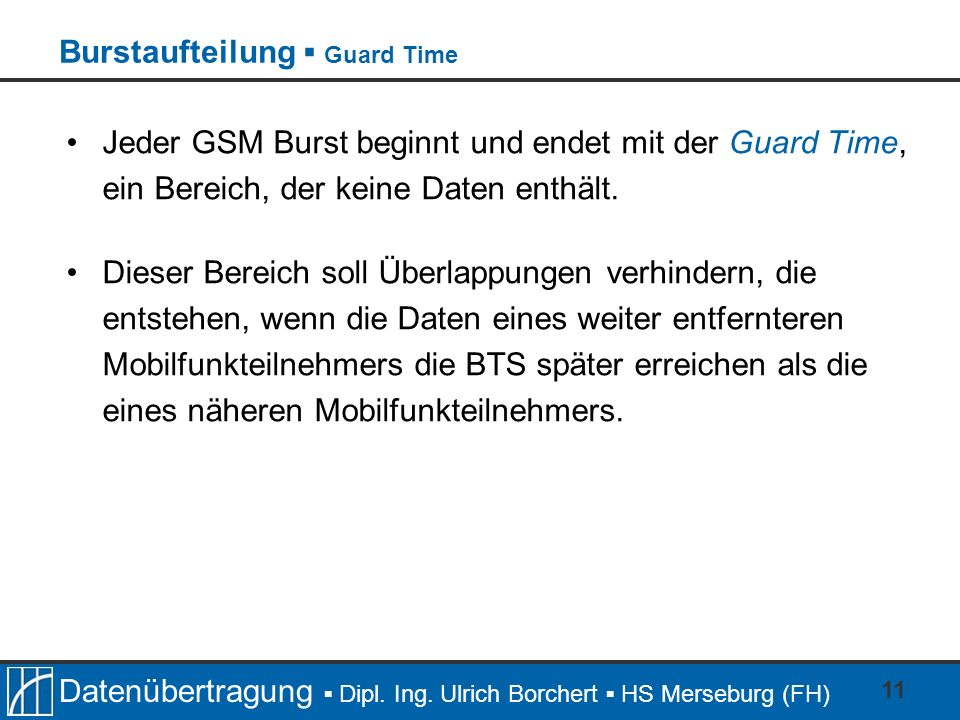 Burstaufteilung ▪ Guard Time