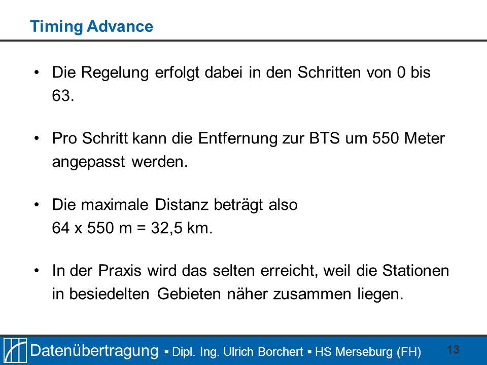 Timing AdvanceDie Regelung erfolgt dabei in den Schritten von 0 bis 63. Pro Schritt kann die Entfernung zur BTS um 550 Meter angepasst werden.
