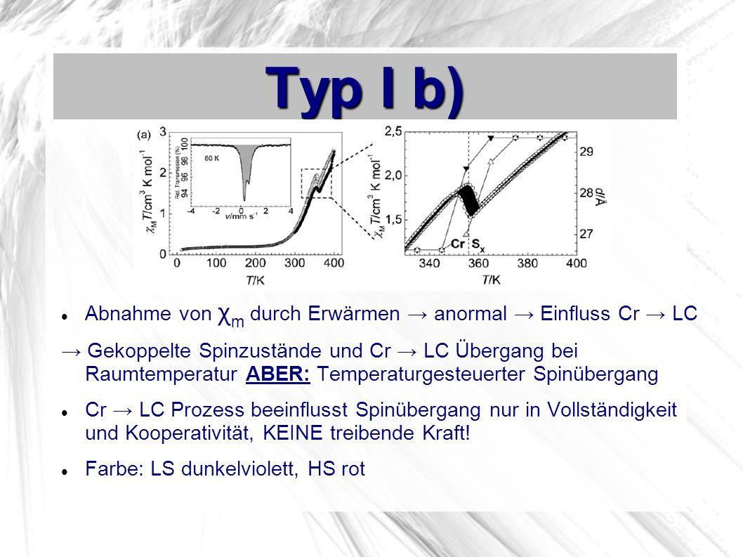 Typ I b) Abnahme von χm durch Erwärmen → anormal → Einfluss Cr → LC