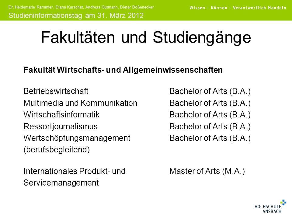 Fakultäten und Studiengänge