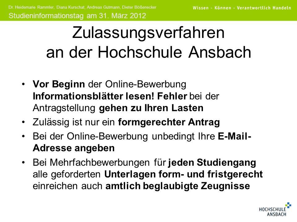 Zulassungsverfahren an der Hochschule Ansbach