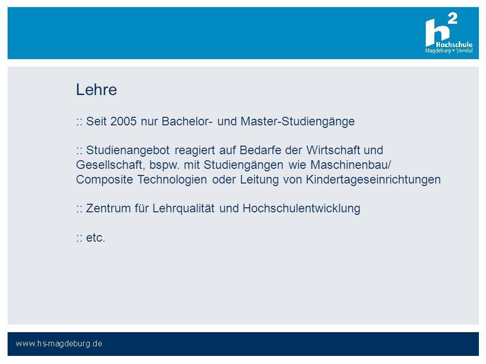 Lehre :: Seit 2005 nur Bachelor- und Master-Studiengänge