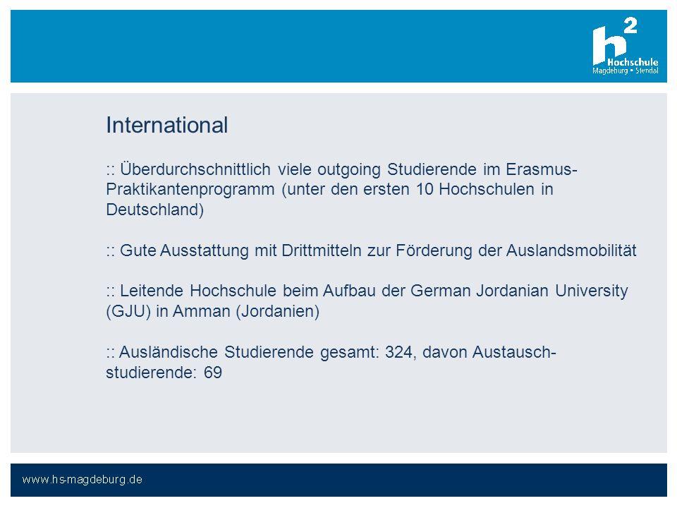 International :: Überdurchschnittlich viele outgoing Studierende im Erasmus-Praktikantenprogramm (unter den ersten 10 Hochschulen in Deutschland)