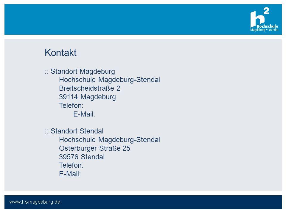 Kontakt :: Standort Magdeburg Hochschule Magdeburg-Stendal
