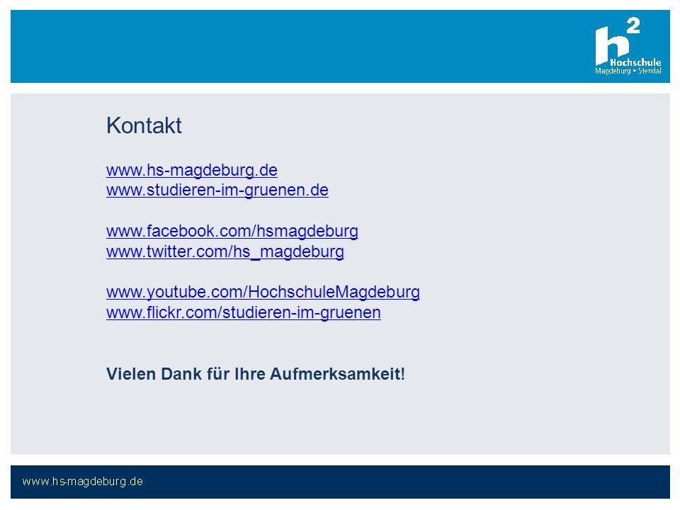 Kontakt www.hs-magdeburg.de www.studieren-im-gruenen.de