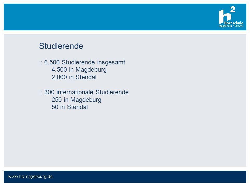 Studierende :: 6.500 Studierende insgesamt 4.500 in Magdeburg
