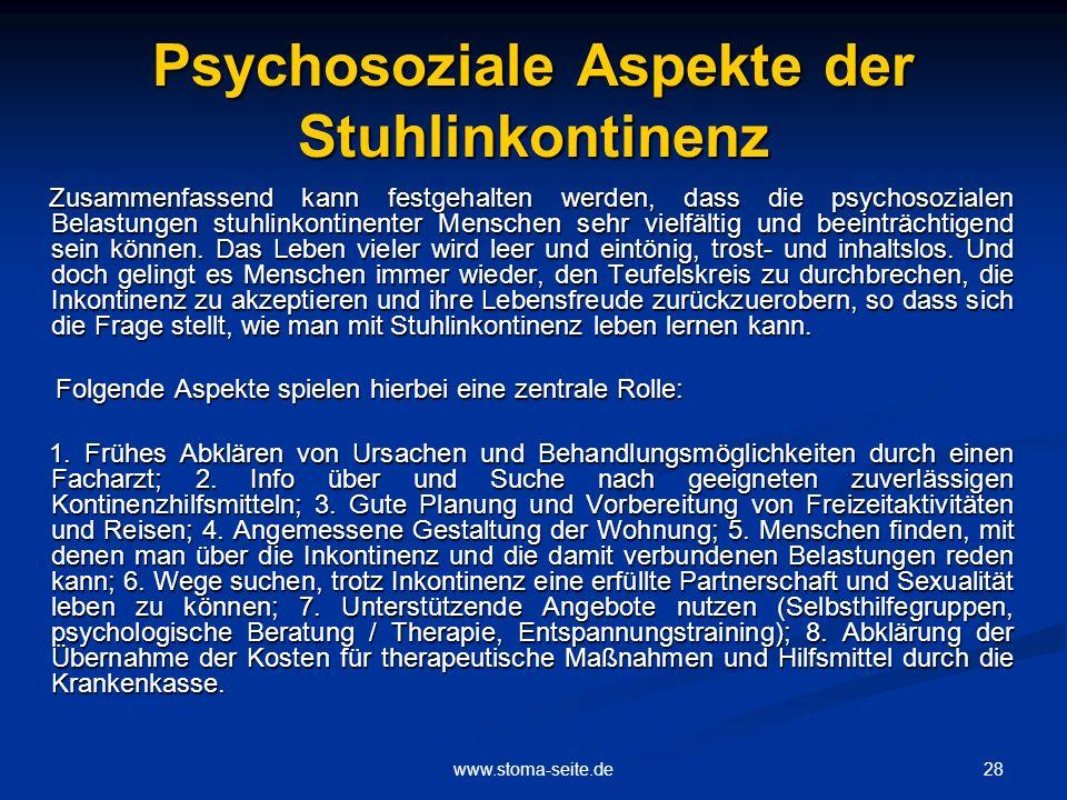 Psychosoziale Aspekte der Stuhlinkontinenz