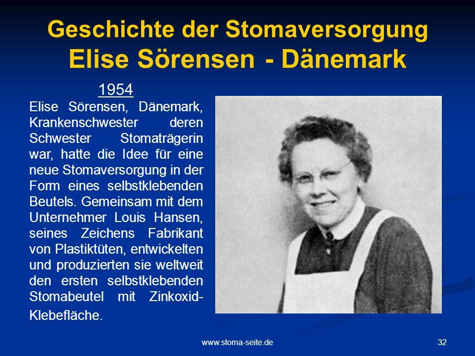 Geschichte der Stomaversorgung Elise Sörensen - Dänemark