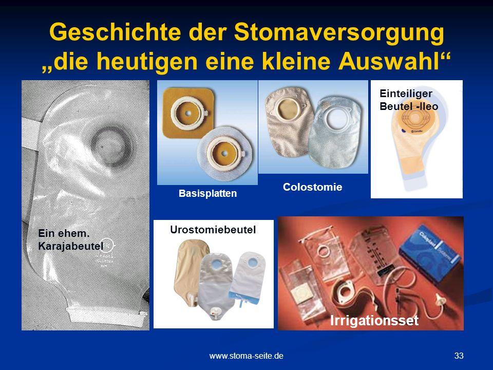"""Geschichte der Stomaversorgung """"die heutigen eine kleine Auswahl"""