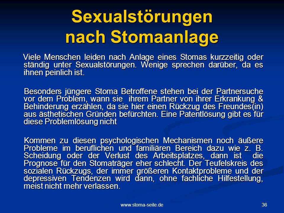Sexualstörungen nach Stomaanlage