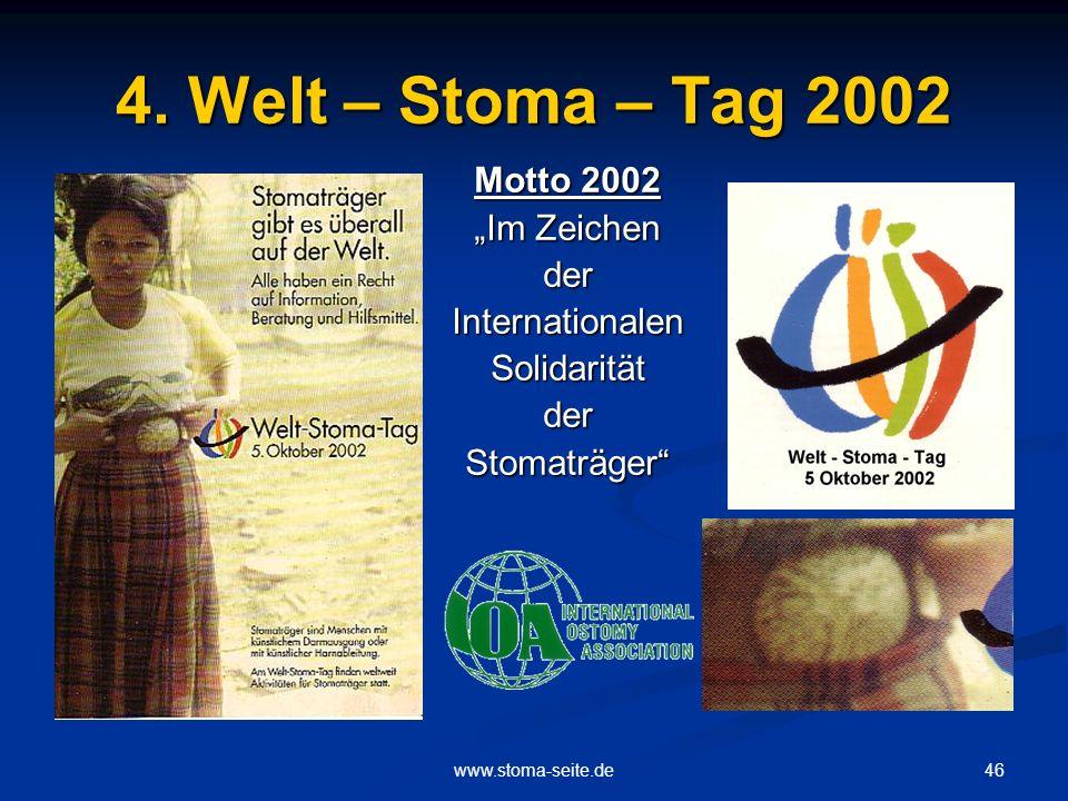 """4. Welt – Stoma – Tag 2002 Motto 2002 """"Im Zeichen der Internationalen"""