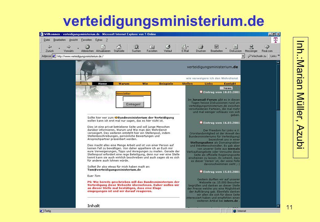 verteidigungsministerium.de Inh.:Marian Müller, Azubi
