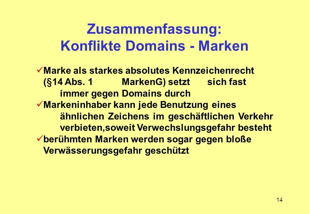 Zusammenfassung: Konflikte Domains - Marken